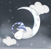 可爱的羊羔和月亮动画片 免版税库存图片