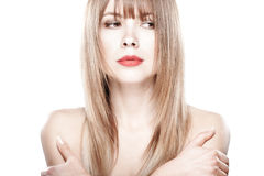 可爱的美丽的白肤金发的女孩 免版税库存照片