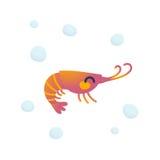 可爱的虾字符 免版税图库摄影