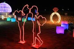 可爱的装饰在Illumia光照明节日韩国晚上 免版税库存图片