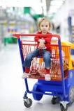 可爱的购物车购物坐的小孩 免版税库存图片