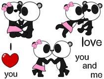 可爱的逗人喜爱的熊猫亲吻的动画片爱华伦泰集合 库存例证