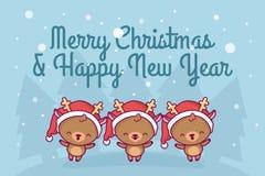 可爱的逗人喜爱的kawaii chibi 一个小组鹿唱歌曲在下降雪 圣诞节愉快的快活的新年度 2007个看板卡招呼的新年好 皇族释放例证