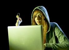 年轻可爱的青少年的在乱砍便携式计算机网络犯罪网络罪行概念的妇女佩带的敞篷 免版税图库摄影
