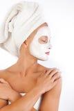 可爱的面罩妇女 免版税库存图片