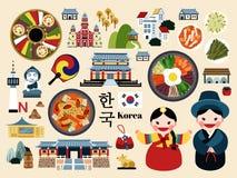 可爱的韩国旅行概念集合 皇族释放例证