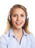 可爱的顾客服务妇女谈话与客户 免版税库存图片
