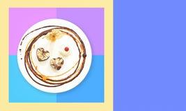 可爱的食物设计构成华伦泰 库存照片