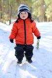 可爱的18个月走在森林里的婴孩 免版税库存图片