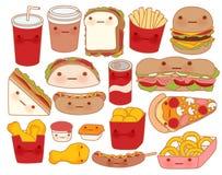 可爱的婴儿食品乱画象,逗人喜爱的汉堡包,可爱的三明治,甜薄饼, kawaii咖啡,娘儿们炸玉米饼的汇集 皇族释放例证