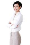 可爱的年轻女实业家。 免版税图库摄影