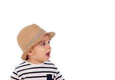 可爱的婴孩与夏天神色的九个月 图库摄影
