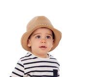 可爱的婴孩与夏天神色的九个月 免版税库存图片