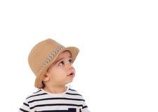 可爱的婴孩与夏天神色的九个月 库存照片