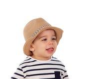 可爱的婴孩与夏天神色的九个月 免版税库存照片