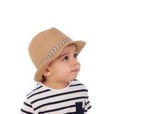 可爱的婴孩与夏天神色的九个月 免版税图库摄影
