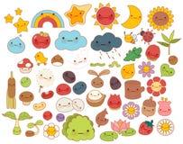 可爱的婴孩森林自然乱画字符象,逗人喜爱的星,可爱的花,甜果子, kawaii彩虹,娘儿们臭虫的汇集 免版税库存图片