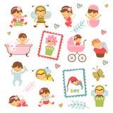 可爱的婴孩的五颜六色的收藏 库存例证