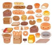 可爱的婴孩面包店食物乱画象的汇集 库存图片