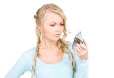 可爱的货币钱包妇女 免版税库存照片
