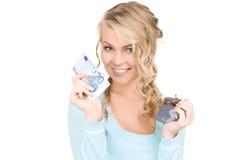 可爱的货币钱包妇女 图库摄影
