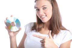 可爱的CD的藏品rom妇女 库存照片