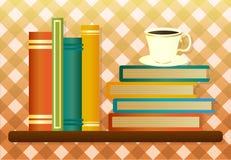 可用的书咖啡杯文件图书馆架子向量 免版税库存图片