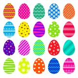 可用的五颜六色的复活节彩蛋被设置的向量 免版税库存图片