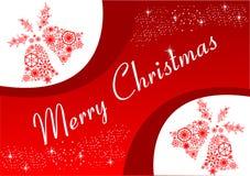 可用的响铃圣诞节例证向量 红色背景和白色样式 另外的卡片形式节假日 库存照片