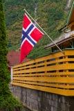 可用的标志玻璃挪威样式向量 挪威的旗子,外面 免版税库存照片