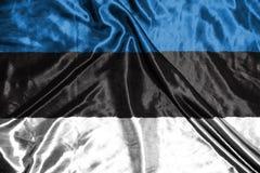 可用的爱沙尼亚标志玻璃样式向量 在背景的旗子 免版税图库摄影