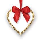 可用的看板卡日文件华伦泰向量 与红色弓, texton的地方的闪烁的金黄心脏白色背景 向量 免版税图库摄影