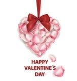可用的看板卡日文件华伦泰向量 桃红色玫瑰花瓣心脏形状有红色弓的和在白色背景 边界月桂树离开橡木丝带模板向量 库存例证