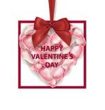 可用的看板卡日文件华伦泰向量 桃红色玫瑰花瓣心脏形状有红色弓isolatedand的在白色背景 边界月桂树离开橡木丝带模板向量 免版税库存图片