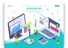 可用的设计eps8格式化jpeg模板网站 等量概念采购 雇用一名遥远的雇员,设计师,程序员,撰稿人 向量例证