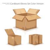 可用的配件箱纸板文件集向量 免版税图库摄影