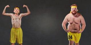 可笑和滑稽的肥胖和稀薄的运动员 库存照片