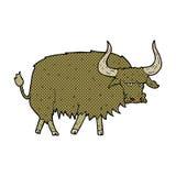 可笑的动画片使长毛的母牛困恼 图库摄影