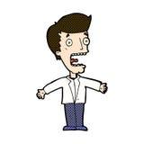 可笑的动画片叫喊的人 免版税图库摄影