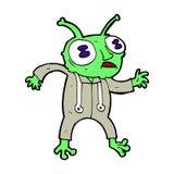 可笑的动画片外籍人太空人 免版税库存照片