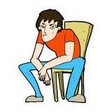 可笑的动画片沮丧的人 免版税库存图片