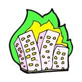 可笑的动画片灼烧的大厦 免版税图库摄影