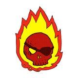 可笑的动画片灼烧的头骨 免版税库存图片