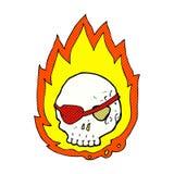 可笑的动画片灼烧的头骨 免版税库存照片