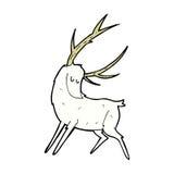 可笑的动画片白色雄鹿 免版税库存照片