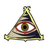可笑的动画片神秘的眼睛标志 库存照片