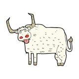 可笑的动画片长毛的母牛 图库摄影