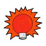 可笑的动画片闪动的红灯电灯泡 免版税图库摄影