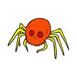 可笑的动画片鬼的万圣夜头骨蜘蛛 库存图片