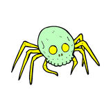 可笑的动画片鬼的万圣夜头骨蜘蛛 库存照片